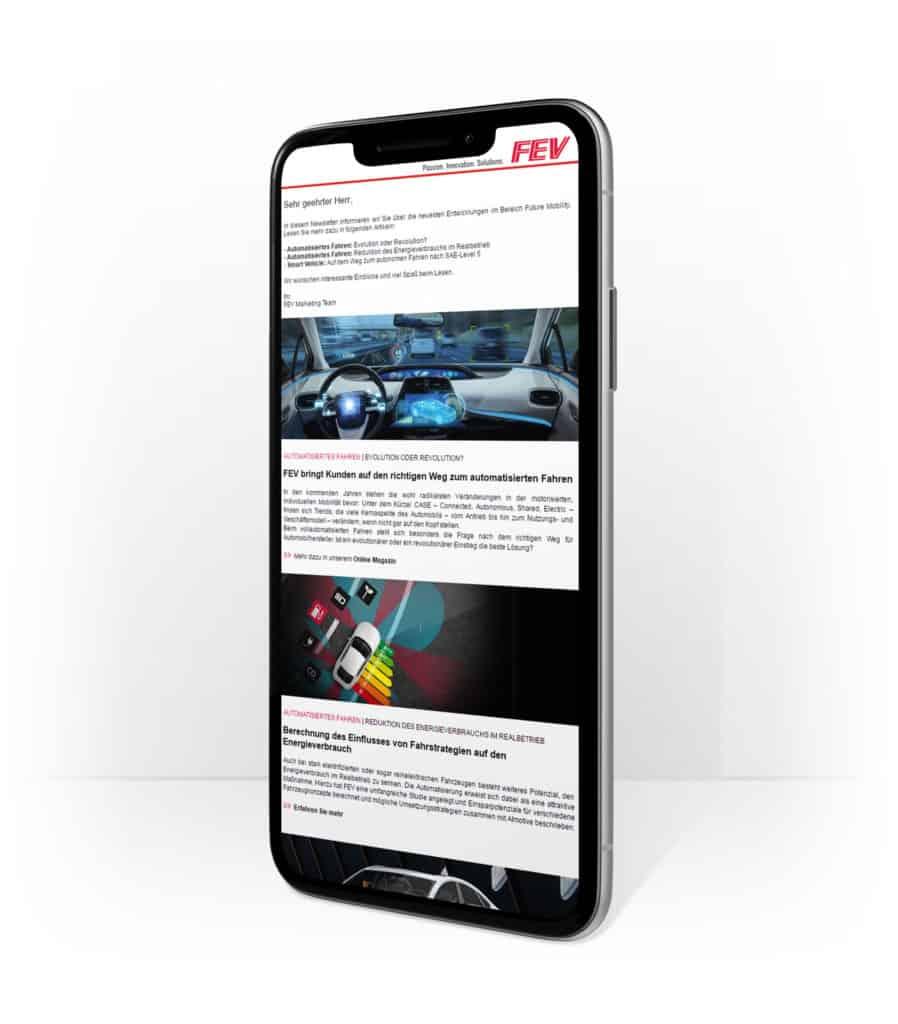 Smartphone mit Engineering Newsletter Vorschau