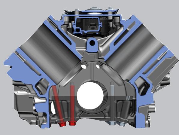 Transparente Darstellung der abgewinkelten äußeren Befestigungselemente für den Hauptlagerdeckel